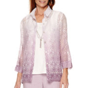 Alfred Dunner® Lavender Fields 3/4-Sleeve Burnout Layered Shirt