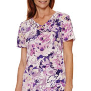 Alfred Dunner® Lavender Fields Short-Sleeve Floral Print Blouse