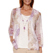 Alfred Dunner® Lavender Fields 3/4-Sleeve Layered Top