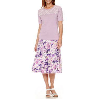 jcpenney.com | Alfred Dunner® Lavender Fields Pearl-Trim Sweater Shell or Print Skirt