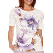 Alfred Dunner® Lavender Fields Short-Sleeve Floral Print Sweater