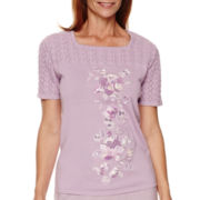 Alfred Dunner® Lavender Fields Short-Sleeve Embroidered Sweater