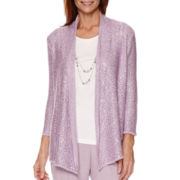 Alfred Dunner® Lavender Fields 3/4-Sleeve Sequin Layered Sweater