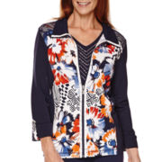Alfred Dunner® Costa Allegra 3/4-Sleeve Novelty Knit Jacket