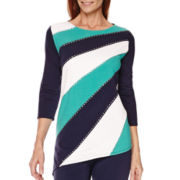 Alfred Dunner® Costa Allegra 3/4-Sleeve Colorblock Top