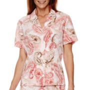 Alfred Dunner® Picture Perfect Short-Sleeve Paisley Print Blouse