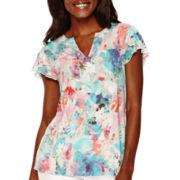 Liz Claiborne® Flutter-Sleeve Floral T-Shirt