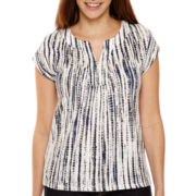 Liz Claiborne® Short-Sleeve Printed Split-Neck T-Shirt