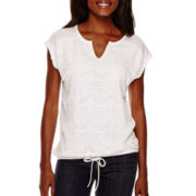 Liz Claiborne® Extended Shoulder Lace-Front Tee - Tall
