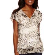 Liz Claiborne® Short-Sleeve Floral Peasant Top
