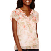 Liz Claiborne® Short-Sleeve Floral Peasant Top
