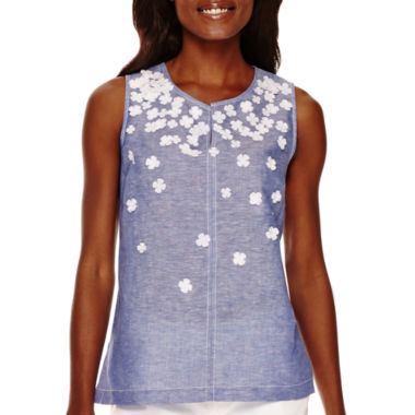 jcpenney.com | Liz Claiborne® Sleeveless Floral Appliqué Shell - Tall