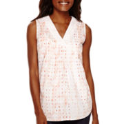 Liz Claiborne® Pintuck Printed Tank Top - Tall