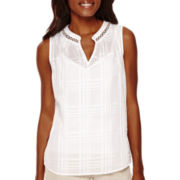 Liz Claiborne® Sleeveless Band Collar Pleated Back Tunic - Tall
