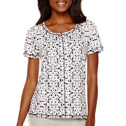 Liz Claiborne® Short-Sleeve Print High-Low T-Shirt