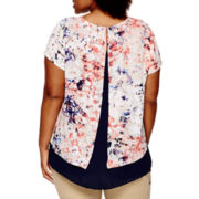 a.n.a® Short-Sleeve Split-Back Overlay Blouse - Plus