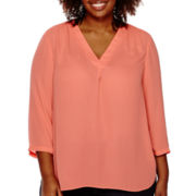 a.n.a® 3/4-Sleeve V-Neck Blouse - Plus