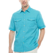 St. John's Bay® Short-Sleeve Crosshatch Shirt