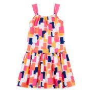 Okie Dokie® Sleeveless Gathered Printed Dress - Preschool Girls 4-6x