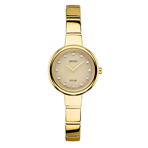 Seiko Womens Gold Tone Bangle Watch-Sup366