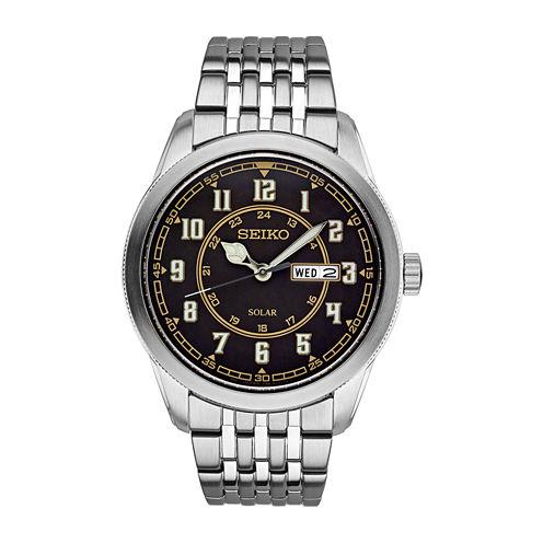 Seiko Recraft Mens Silver Tone Bracelet Watch-Sne445