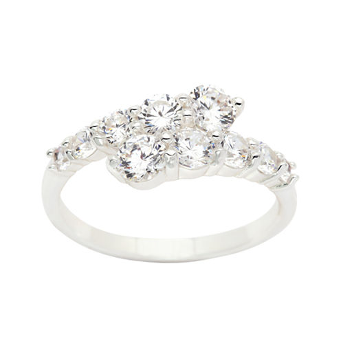 Sparkle Allure Womens Lab Created Clear Silver Over Brass Bypass Ring