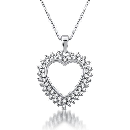 Womens 1/4 CT. T.W. White Diamond 10K Gold Heart Pendant Necklace