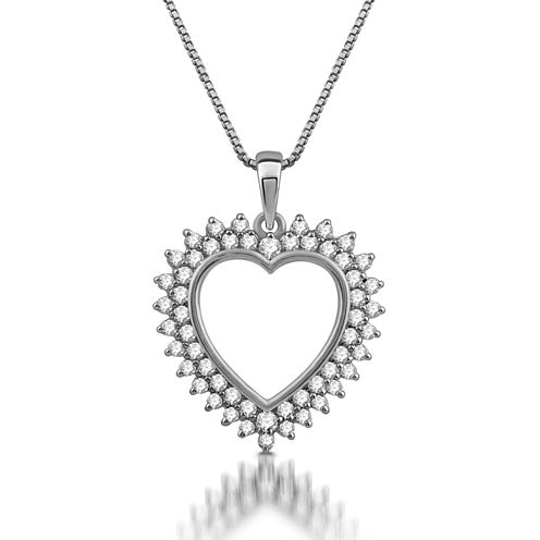 Womens 1/2 CT. T.W. White Diamond 10K Gold Heart Pendant Necklace