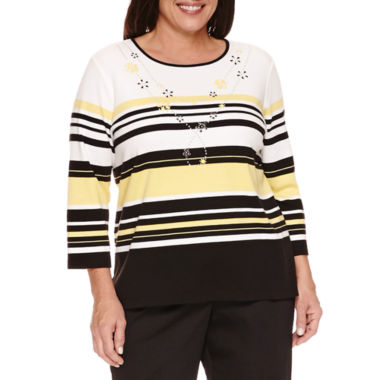 jcpenney.com | Alfred Dunner City Life 3/4 Sleeve Crew Neck T-Shirt-Plus