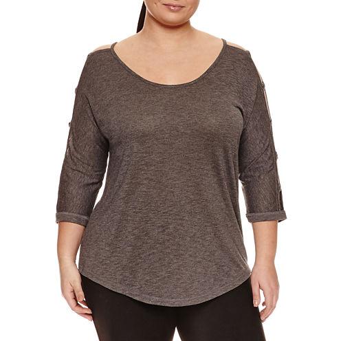 Xersion 3/4 Sleeve T-Shirt-Womens Plus