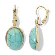 Monet® Gold-Tone Aqua Lever Drop Earrings