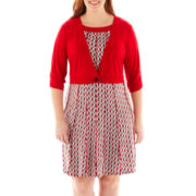 Perceptions Houndstooth Dress with Jacket - Plus