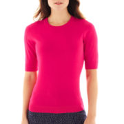Liz Claiborne Elbow-Sleeve Knit Sweater - Tall