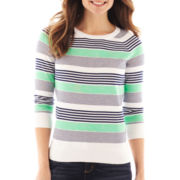 Liz Claiborne 3/4-Sleeve Crewneck Striped Sweater