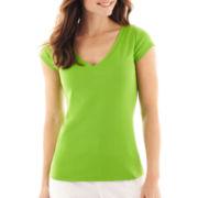 Liz Claiborne® Short-Sleeve V-Neck Tee
