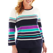 Alfred Dunner® Flower Waltz 3/4-Sleeve Striped Sweater - Plus