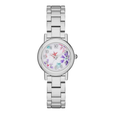 jcpenney.com | Womens Floral Dial Silver-Tone Bracelet Watch