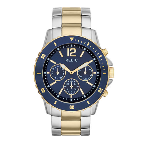 relic® mens 2 tone blue chronograph bracelet watch relic® mens two tone sport watch zr15772