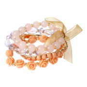 Mixit™ Pink and Coral Bead Gold-Tone 4-pc. Stretch Bracelet Set