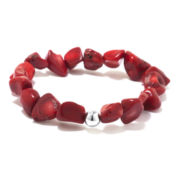 Dyed Coral Nugget Sterling Silver Stretch Bracelet