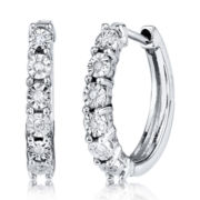 Cubic Zirconia Sterling Silver Huggie Hoop Earrings