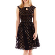 London Style Collection Sleeveless Belted Dot-Mesh Dress - Petite