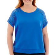 Stylus™ Short-Sleeve Laser-Cut Scuba Top - Plus