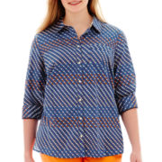 Stylus™ Long-Sleeve Button-Front Essential Print Shirt - Plus