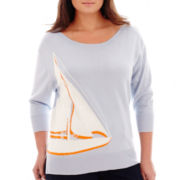 Stylus™ 3/4-Sleeve Sailboat Intarsia Sweater - Plus