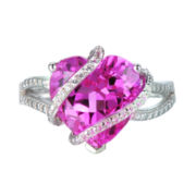 Lab-Created Pink and White Sapphire Heart Shaped Crossover Ring