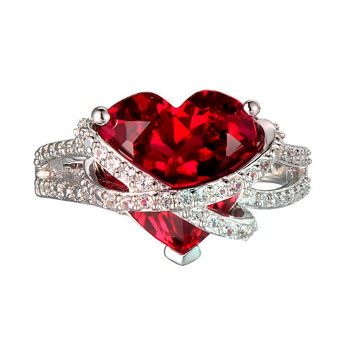 Lab-Created Ruby & White Sapphire Heart Crossover Ring in Sterling Silver