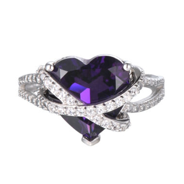 jcpenney.com | Lab-Created Amethyst & White Sapphire Heart Crossover Ring in Sterling Silver