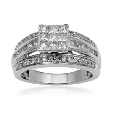 jcpenney.com | 1 CT. T.W. Diamond 10K White Gold Multi-Top Bridal Ring