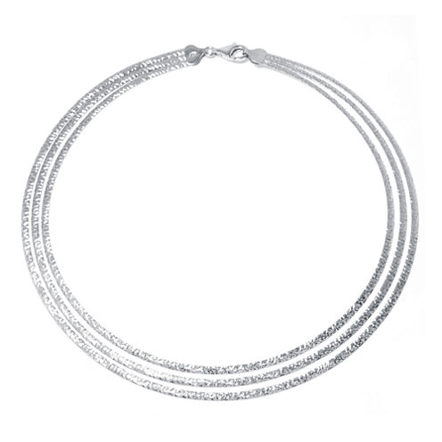 Made in Italy Sterling Silver Diamond-Cut 3-Strand Omega Necklace